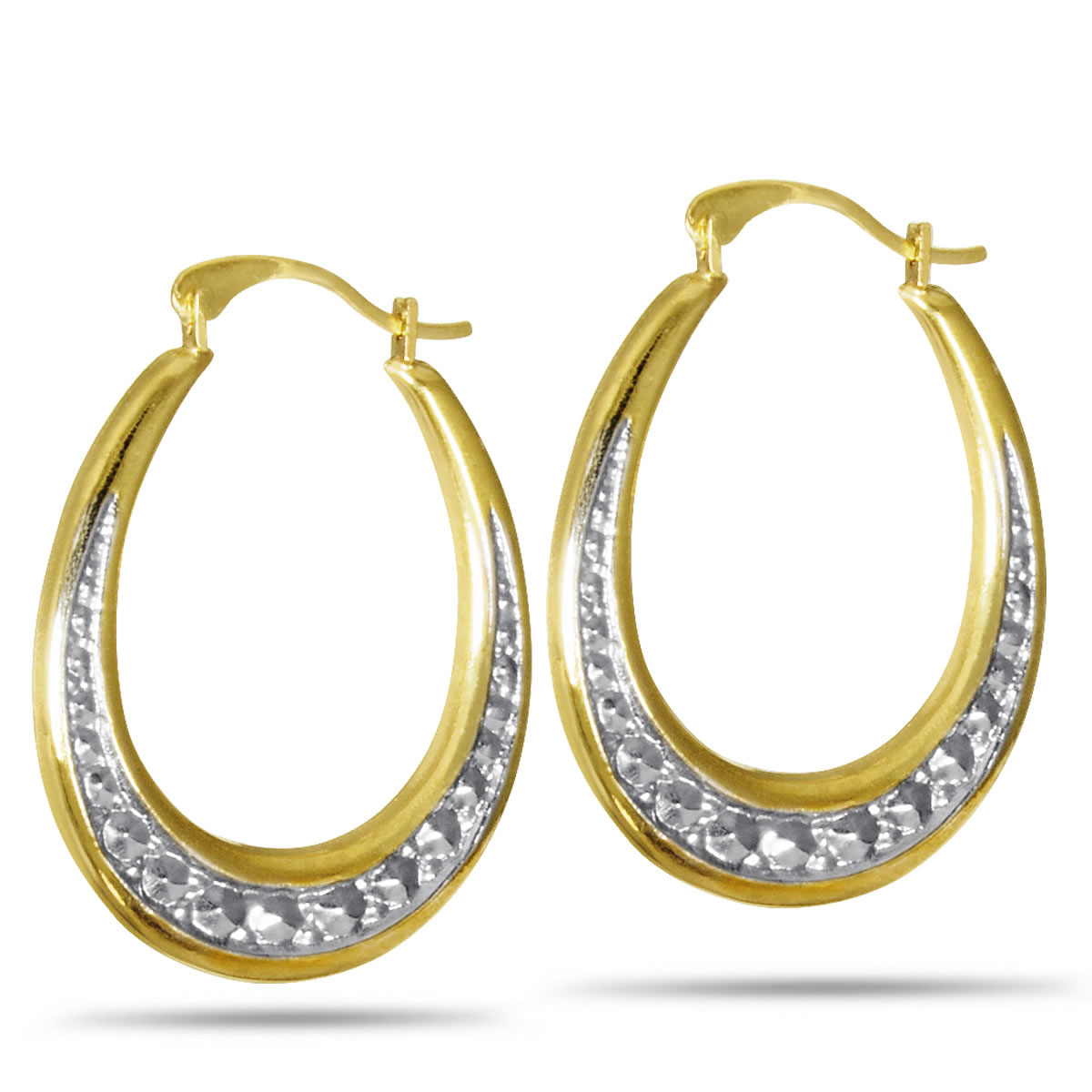Gold Plated, Sterling Silver & Rhodium Beaded Creole Hoop Earrings