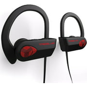 TREBLAB XR500 Bluetooth Headphones, Wireless Earbuds for Sports, Running or Gym Workout. IPX7 Waterproof, Sweatproof, Secure-Fit Headset. Noise Cancelling Earphones w/ Mic (Black-Red)