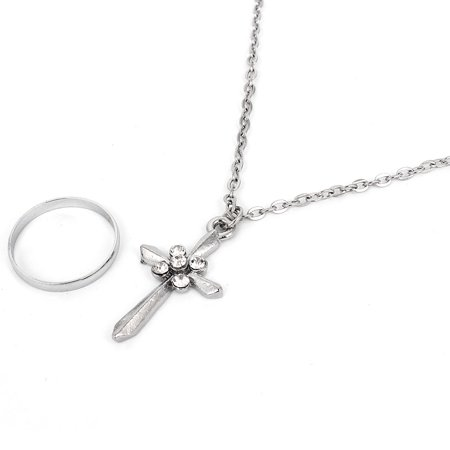 Lady Rhinestone Detailing Cross Design Dangling Necklace Finger Ring Silver Tone Chain Dangling Cross
