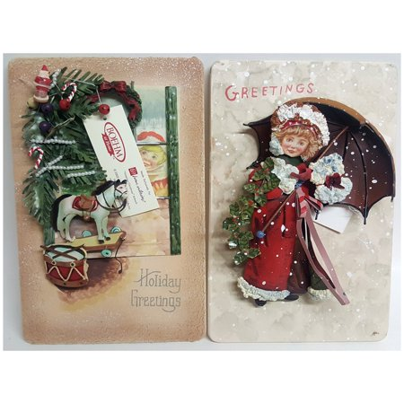 Boehm Victorian Christmas  3D Tin Metal Wall Art Plaques Set of 2 Metal Christmas Plaque