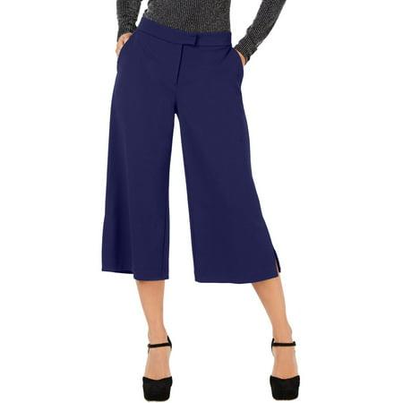 MICHAEL Michael Kors Womens Side Slit Wide Leg Cropped Pants Navy L