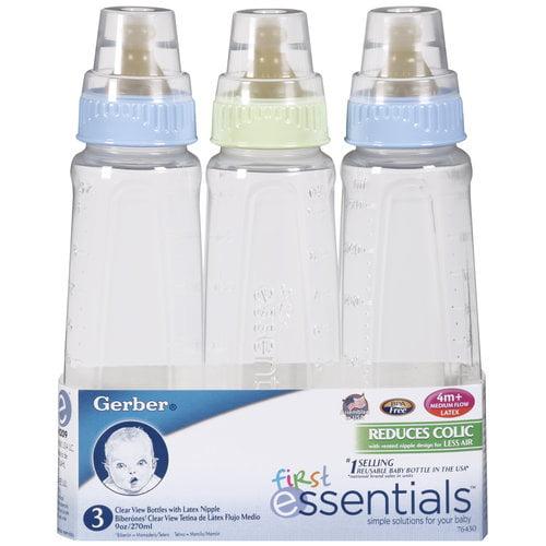 Gerber Nurser Clear View Reusable Feeding Bottle - 9 Oz, 3 Bottles / Pack