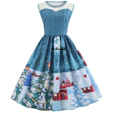 New Smocked Dress 2 Piece (New Womens Christmas Mesh Piecing Dress Sleeveless Xmas Party Round Neck Dresses)