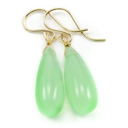 Chalcedony Earrings Soft Green Smooth Long Teardrop 14k Gold Filled Dangles Spyglass Designs (Lucky Chalcedony Earrings)