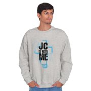 Jesus Crewneck Sweat Shirts Sweatshirts JC Christ With Me Christian God Cute Church Gift