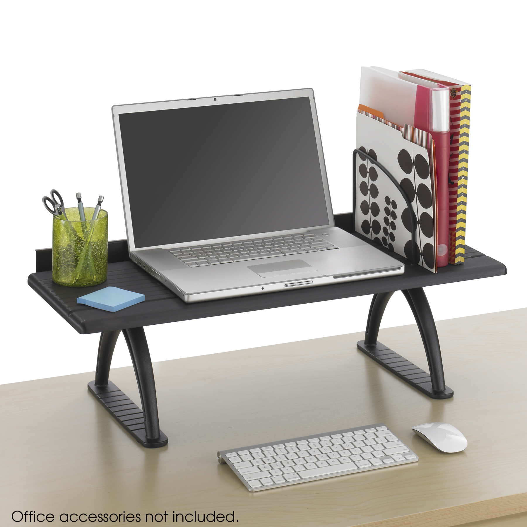 Safco 3602BL Home Office BLACK Wood Desktop Organizers 30 In Desk Riser  12 In Deep Shelf With Shelf Divider 100 Lb Weight Capacity   Walmart.com