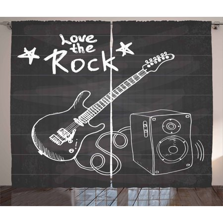 Guitar Curtains 2 Panels Set, Love The Rock Music Themed Sketch Art Sound Box and Text on Chalkboard Print, Window Drapes for Living Room Bedroom, 108W X 84L Inches, Dark Taupe White, by