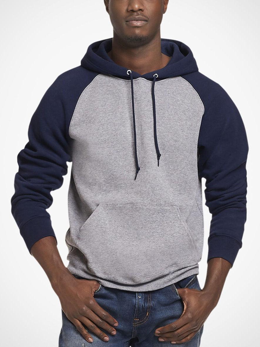 Men Raglan Sleeve Color Block Drawstring Hooded Sweatshirt
