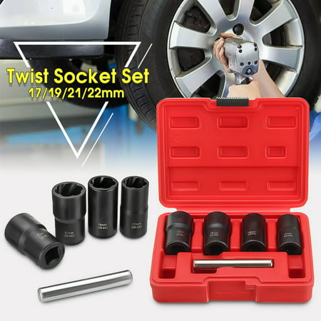 "5X Twist Socket Kit 1/2"" Drive Wheel Lock Nut Remover / Removal 17 19 21mm (Best Way To Get Locking Wheel Nuts Off)"