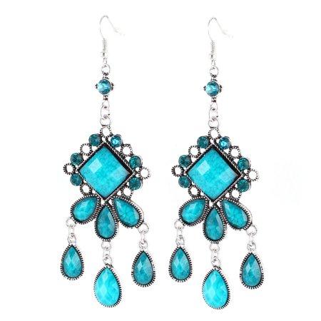 Vintage Style Blue Waterdrop Bead Detailing Pendant Hook Earring Ear Drop Pair