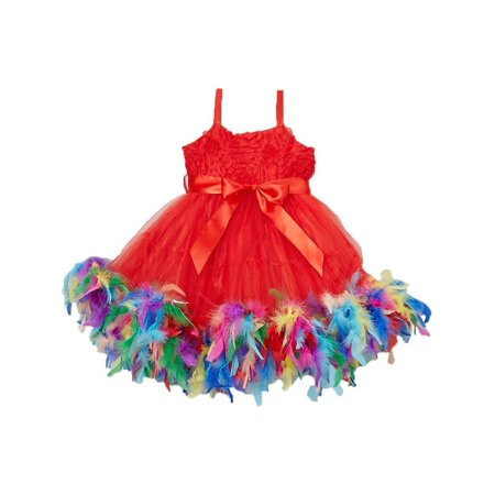 Little Girl Red Multi Color Rainbow Feathers Bow Frilly Dress M(2-4) (Girls Frilly Dress)