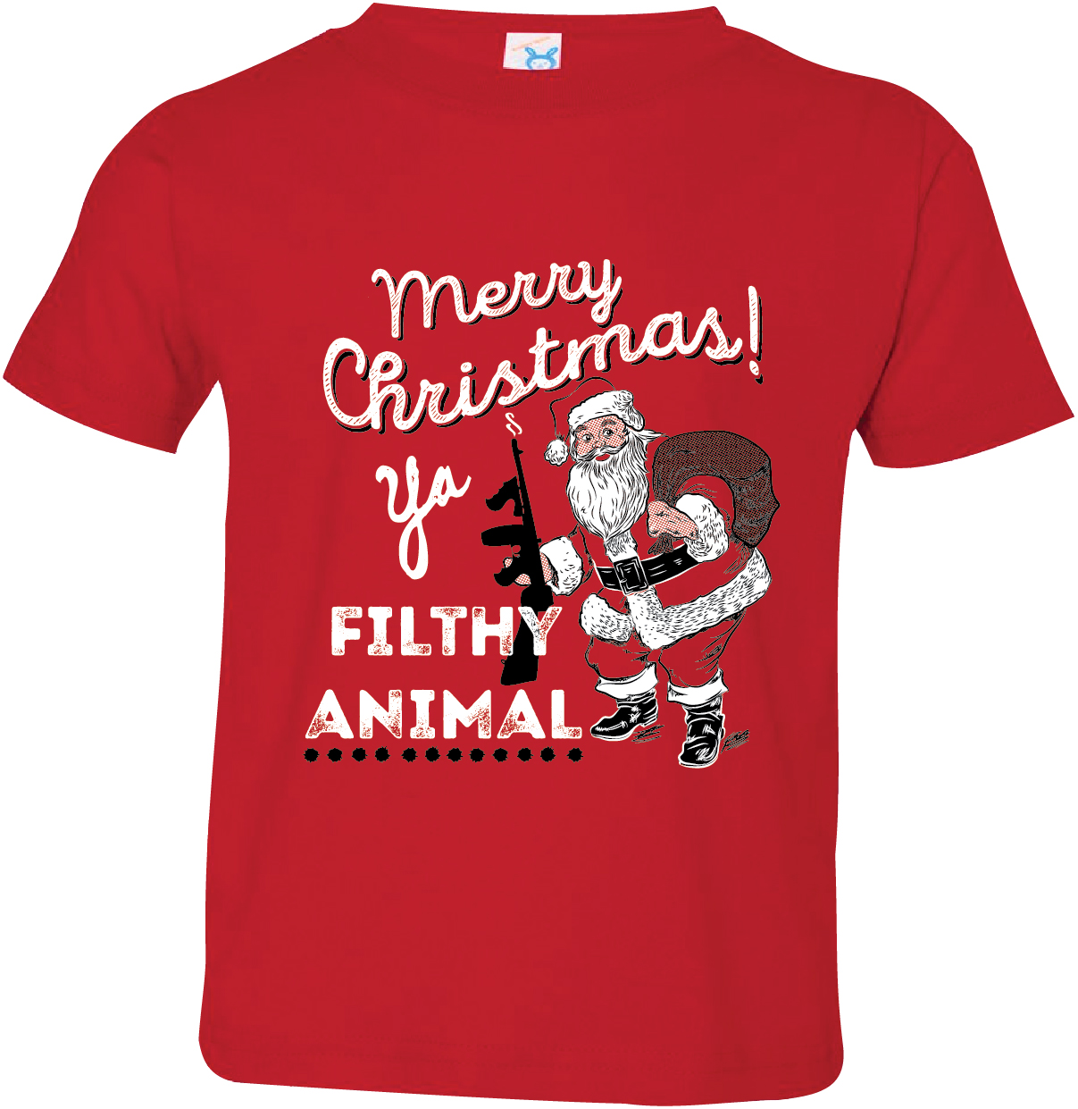Texas Tees Brand: Merry Christmas ya Filthy Animal, Funny Baby Clothes, Red 12-18 mo