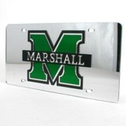Marshall Thundering Herd Inlaid Acrylic License Plate - Silver