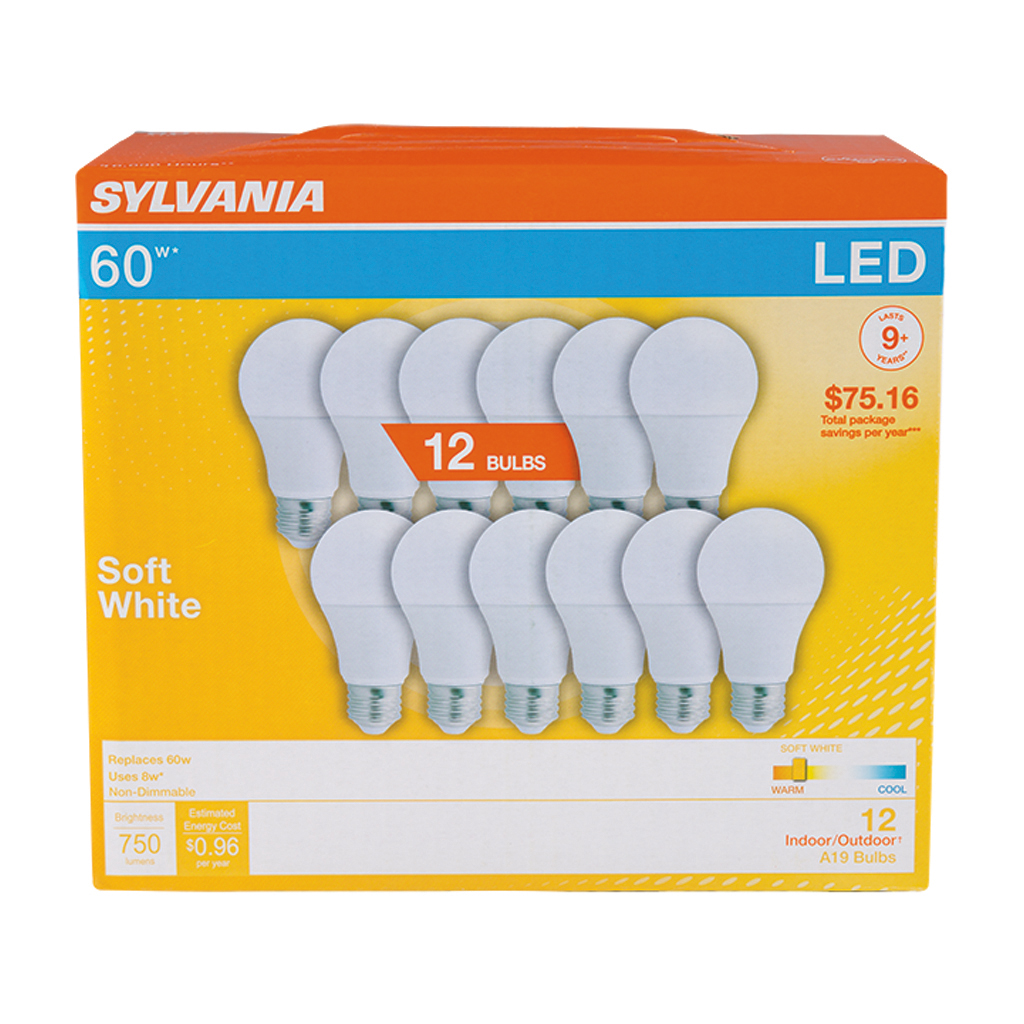 Sylvania Led 60w A19 12 Pack Soft White