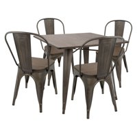 Oregon 5-Piece Industrial-Farmhouse Dining Set in Antique and Espresso by LumiSource