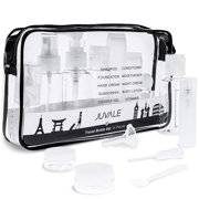 Juvale 15-Pack Refillable Toiletry Containers and Accessories with Clear Travel Bag - TSA Approved - Jars, Spray, Pump, and Squeeze Bottles