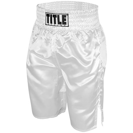 Knee Boxing Trunks (Title Professional Boxing Trunks - White )