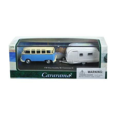 Volkswagen Bus Samba Blue with Caravan II Trailer in Display Showcase 1/72 Diecast Car Model by Cararama