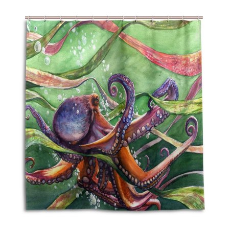 POPCreation Octopus And Aquatic Plants Shower Curtain Waterproof Bathroom 66x72 Inches