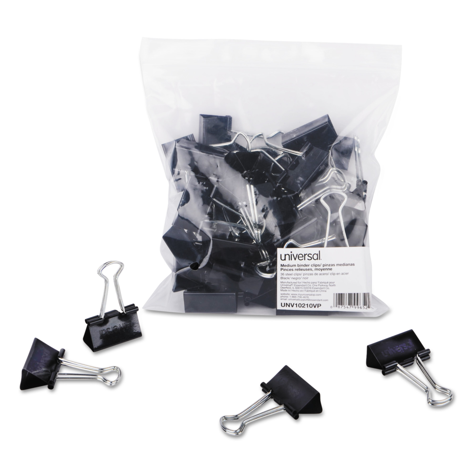 "Universal Medium Binder Clips, Zip-Seal Bag, 5/8"" Capacity, 1 1/4"" Wide, Black, 36/Bag"