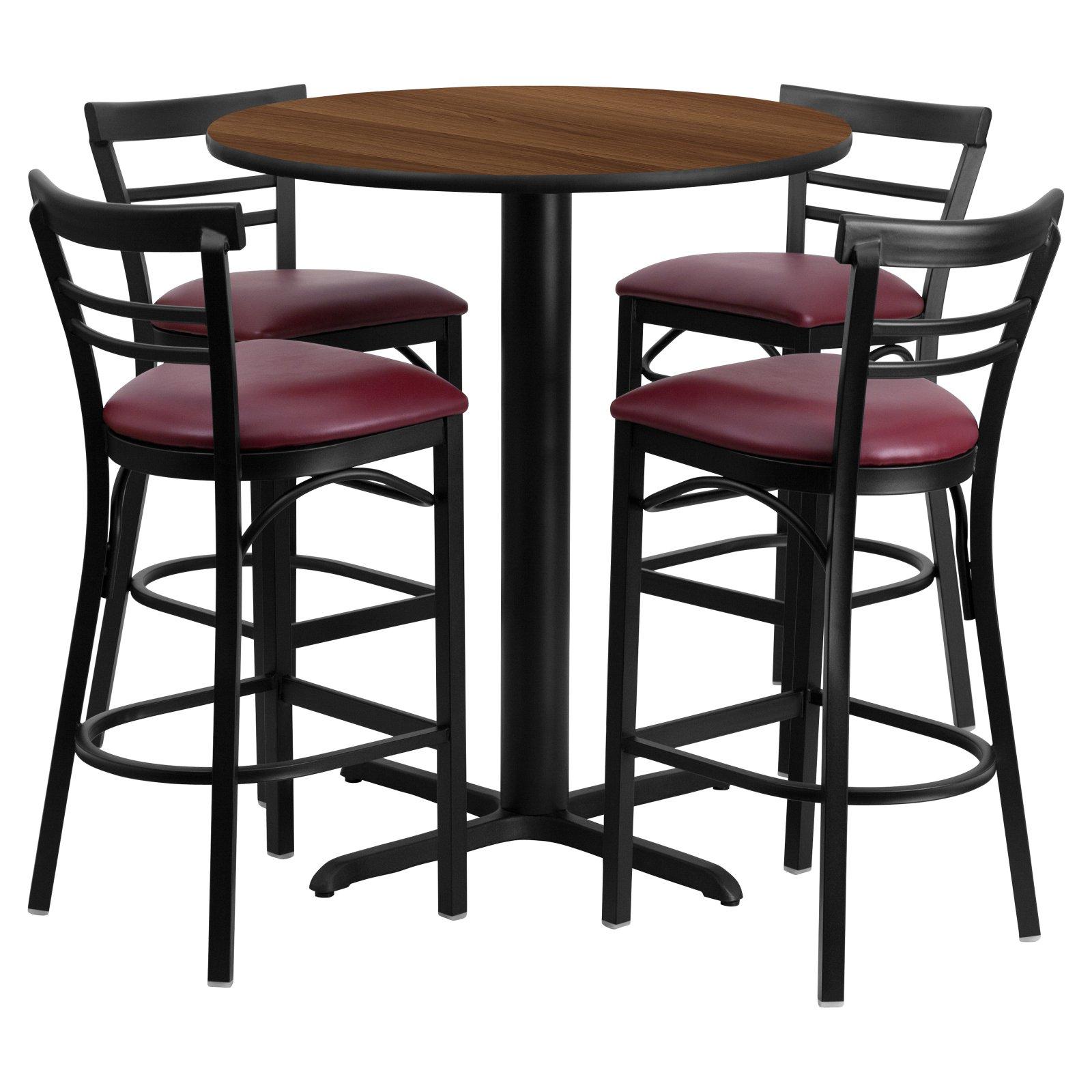 Flash Furniture 24'' Round Walnut Laminate Table Set with 4 Ladder Back Metal Barstools, Burgundy Vinyl Seat Black, Burgundy, Walnut