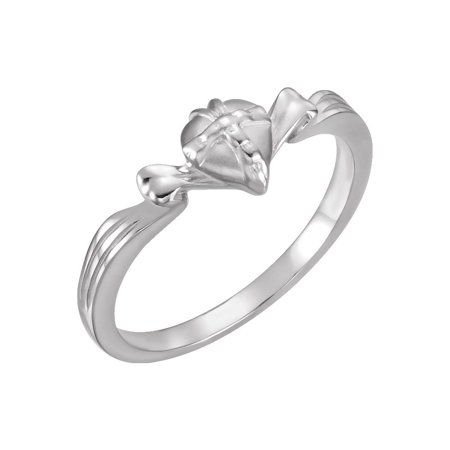 Gift Wrapped Heart Chastity Ring - Sterling Silver Polished Wrapped Heart Chastity Ring - Ring Size:  to 7