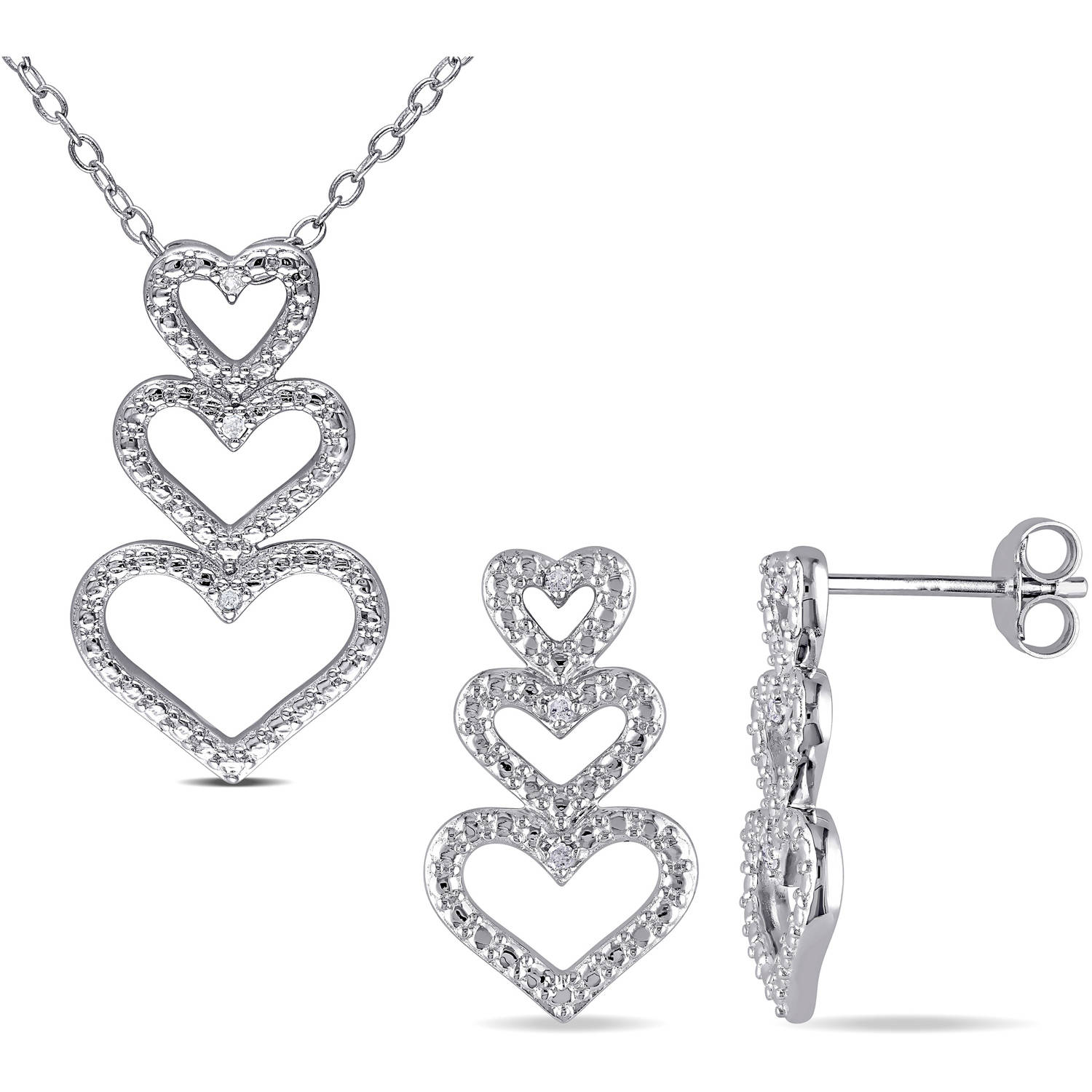 Miabella Diamond-Accent Sterling Silver Multi-Heart Pendant and Earrings Set, 18""