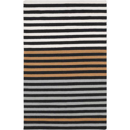 stripes orange black and white hand woven wool area throw rug