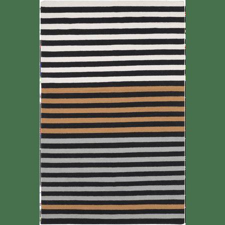 stripes orange black and white hand woven wool area throw rug