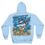 Wicked Fish Wicked Crab Hooded Sweatshirt by , Light Blue, 3XL