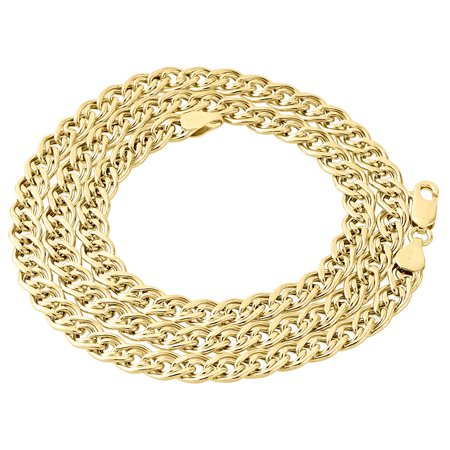 10K Yellow Gold 6MM Double Cuban Curb Italian Link Chain Necklace 30 Inch Designer Double Link Necklace