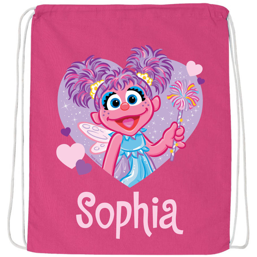 Personalized Sesame Street Abby Caddaby Hot Pink Drawstring Bag