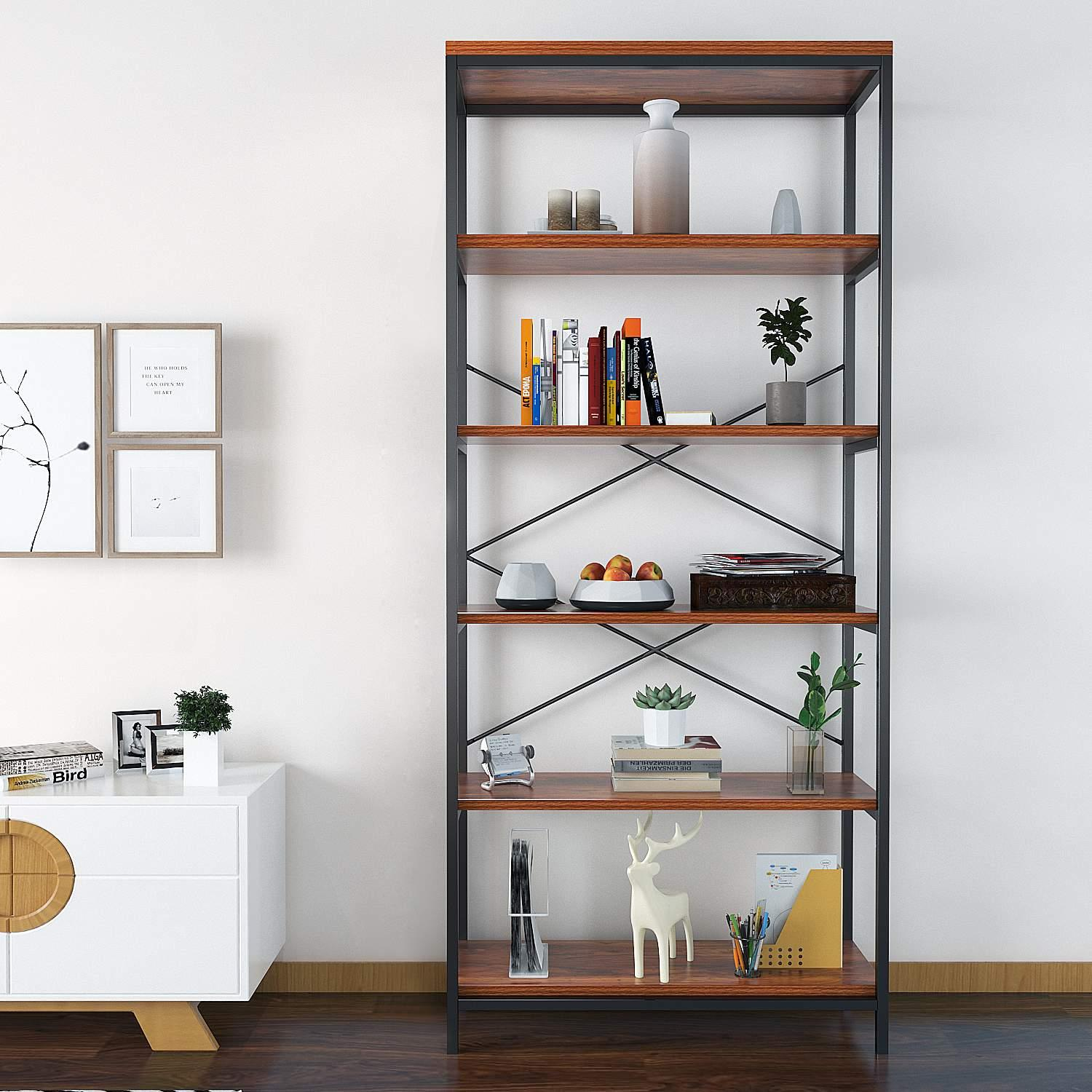 5-Shelf Industrial Wooden Style Bookcase and Shelves, Free Standing Storage shelf units