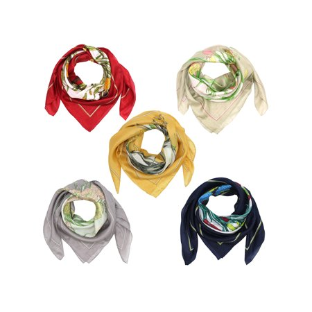 Square Flowers & Stems Print Silk Scarf 5-Pack