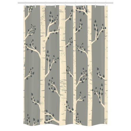 Grey Stall Shower Curtain Birch Tree Branches Vintage Bohemian Contemporary Illustration Of Nature Fabric Bathroom Set With Hooks 54W X 78L Inches