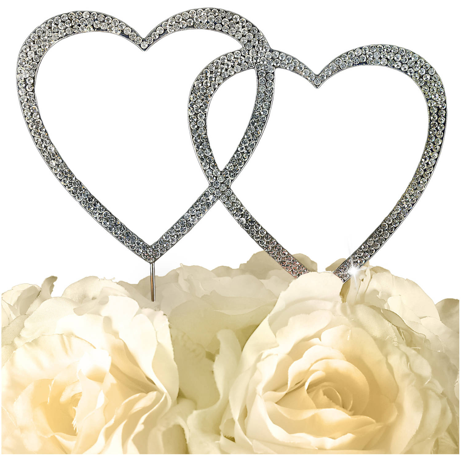 Unik Occasions Sparkling Collection Double Heart Cake Topper