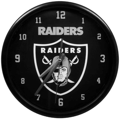 Oakland Raiders Black Rim Basic Clock - No Size