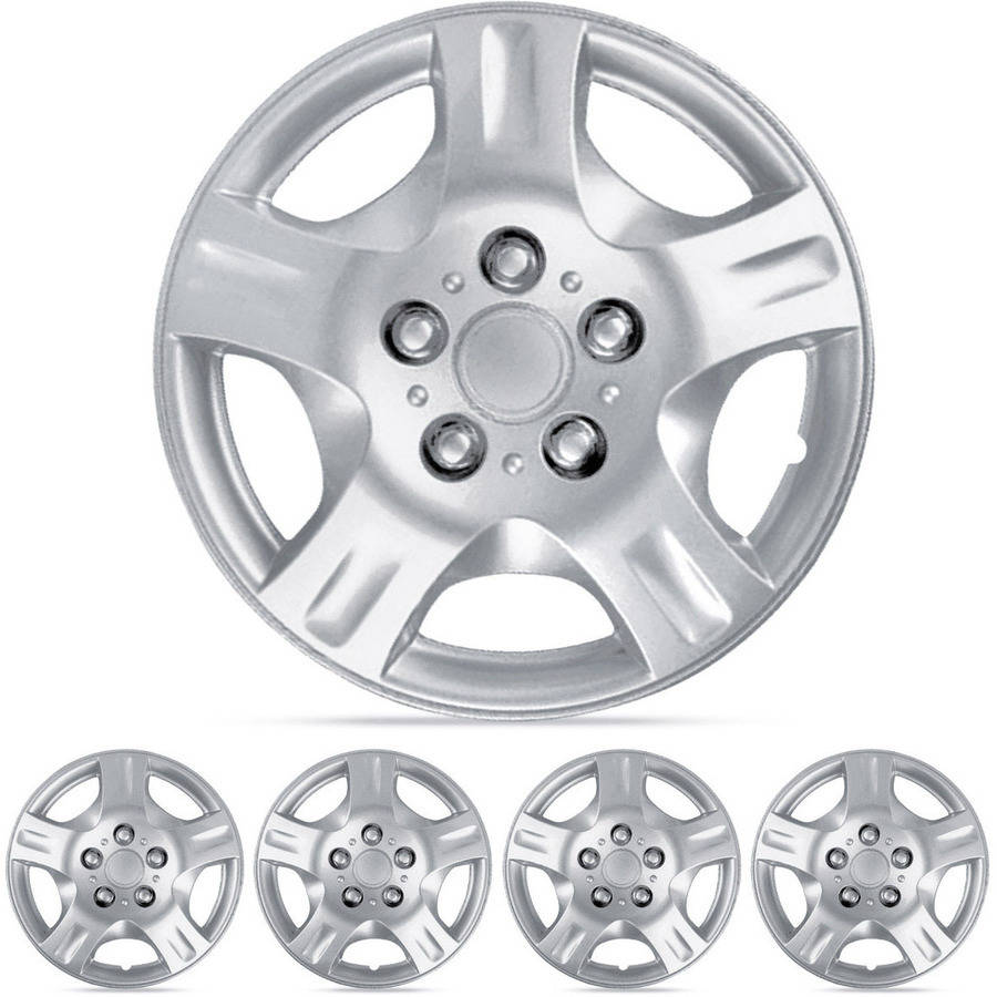 "BDK 15"" Hubcaps Wheel Protection, 5 Lug Nuts, OEM Replacement, Easy Installation, Total 4 Pieces (2 front 2 rear)"