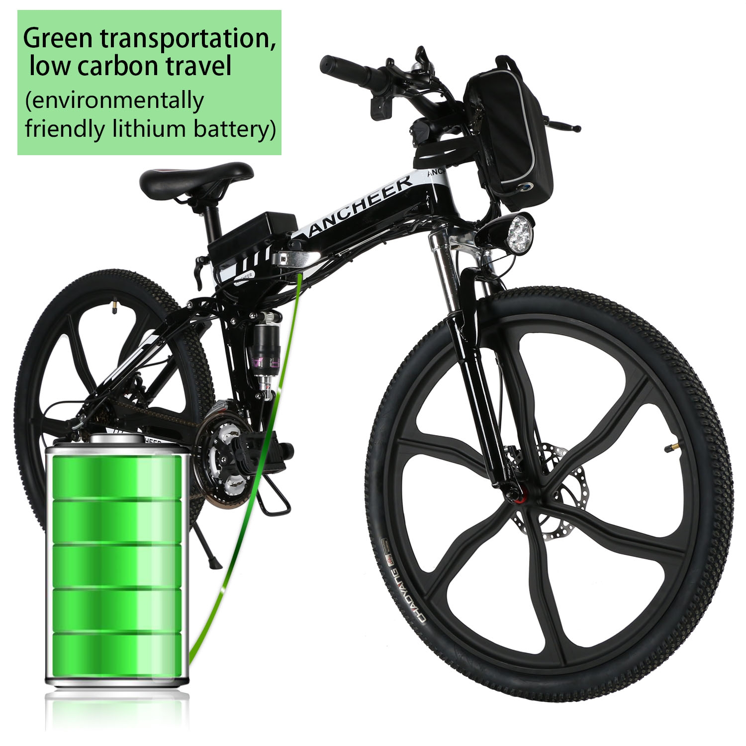 """Folding Electric Mountain Bike for Men with 26"""" Super Lightweight Magnesium Alloy 6 Spokes Integrated Wheel, Large Capacity Lithium-Ion Battery (36V 250W), and Gear(Black White)"""