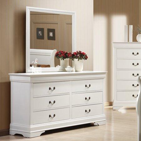 dresser with mirror walmart Wildon Home Louis Philip 6 Drawer Dresser with Mirror   Walmart.com dresser with mirror walmart
