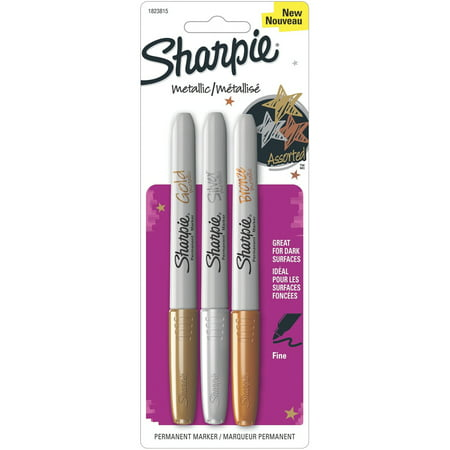 Sharpie® Metallic Permanent Markers, Set of 3, Silver Gold & Bronze