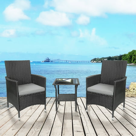 TKOOFN 3-Piece Weather-Resistant Resin Patio Bistro Conversation Furniture Set w/ Side Table, 2 Armchairs ()