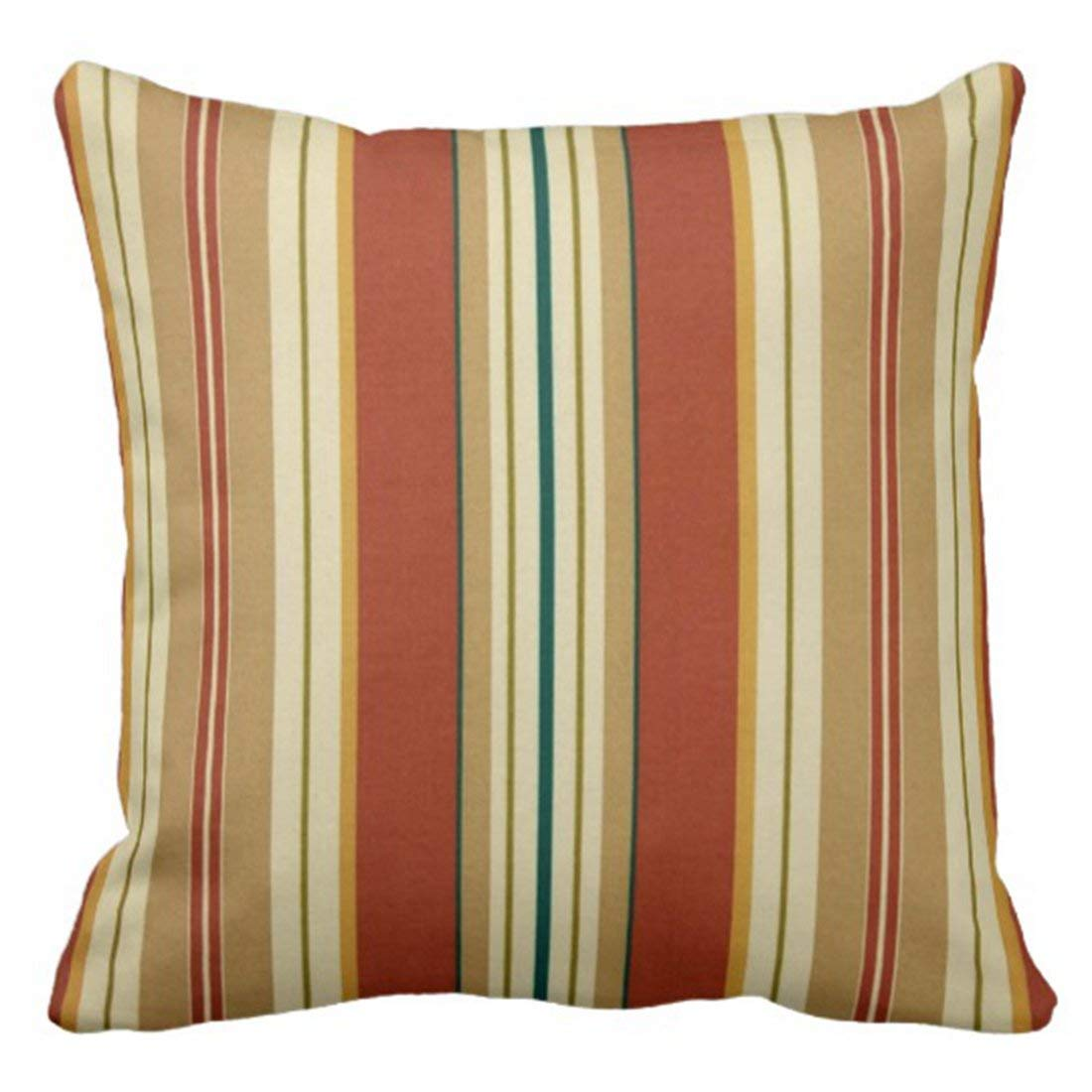 WOPOP Vintage Tribal Orange Blue and Tan Stripes Native Pillowcase Cushion Cover 20x20 inches