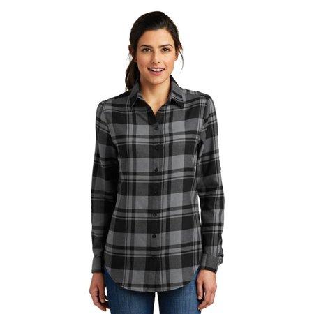 port authority 1201523 ladies plaid flannel tunic in grey & black for lw668 - medium