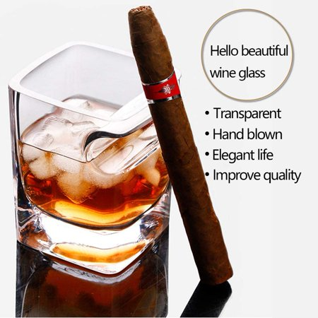 Ergonomically Designed Cigar Whiskey Glass,with Cigar Holder Transparent 11 OZ - image 3 de 7