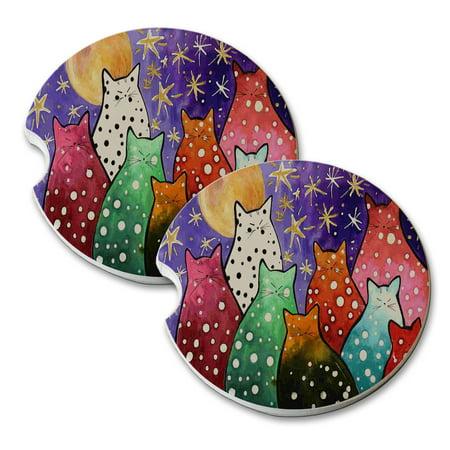 Pink Polka Dot Coaster (KuzmarK Sandstone Car Drink Coaster (set of 2) - Polka Dot Kitties with Moon and Stars Abstract Cat Art by Denise Every )