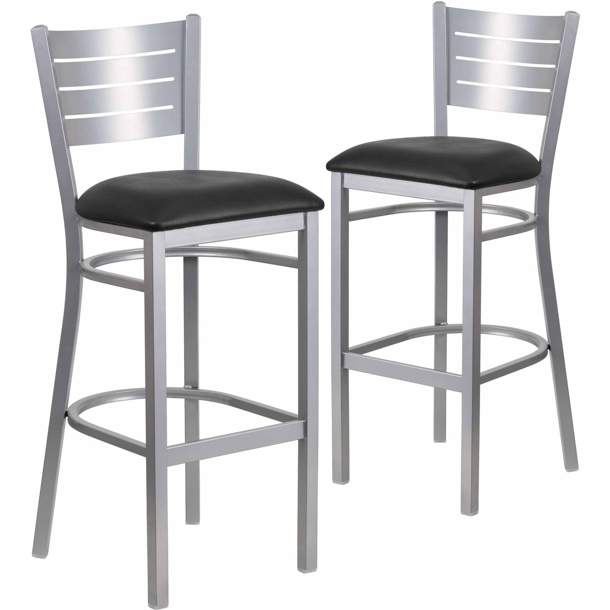 Flash Furniture 2-Pack HERCULES Series Silver Slat Back Metal Restaurant Barstool, Vinyl Seat, Multiple Colors