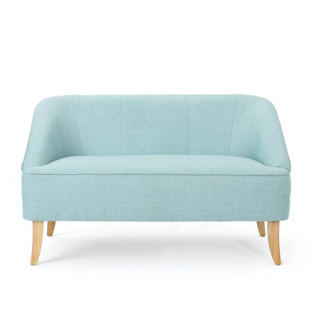 Cool Jasper Mid Century Modern Light Blue Fabric Loveseat Squirreltailoven Fun Painted Chair Ideas Images Squirreltailovenorg