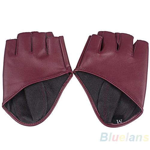 Fashion Lady Women Half Finger Leather Driving Show Pole Dance Gloves Nightclub