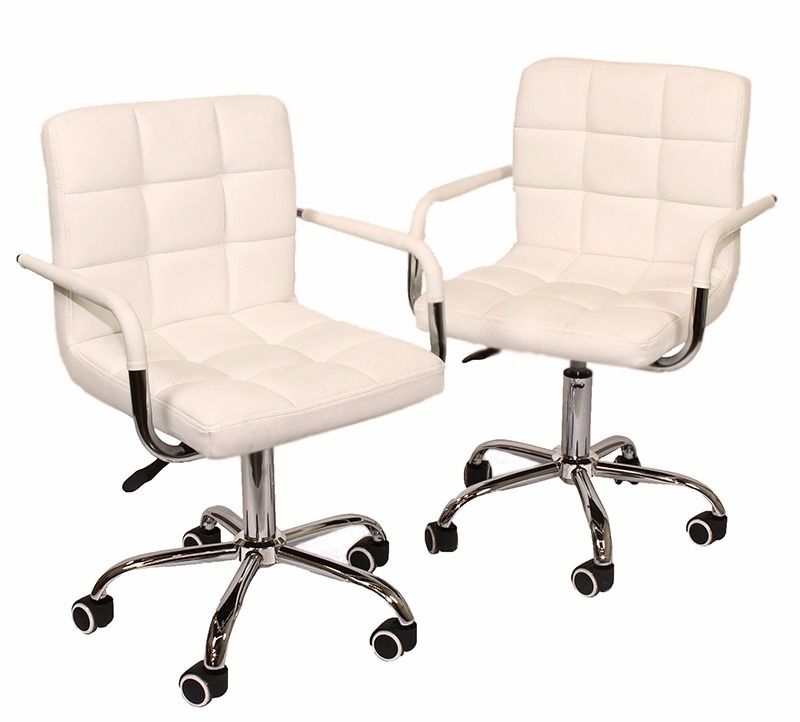 GHP Pack of 2 Cream White PU Leather 360° Swivel Armrest Chair with 5 Caster Wheels